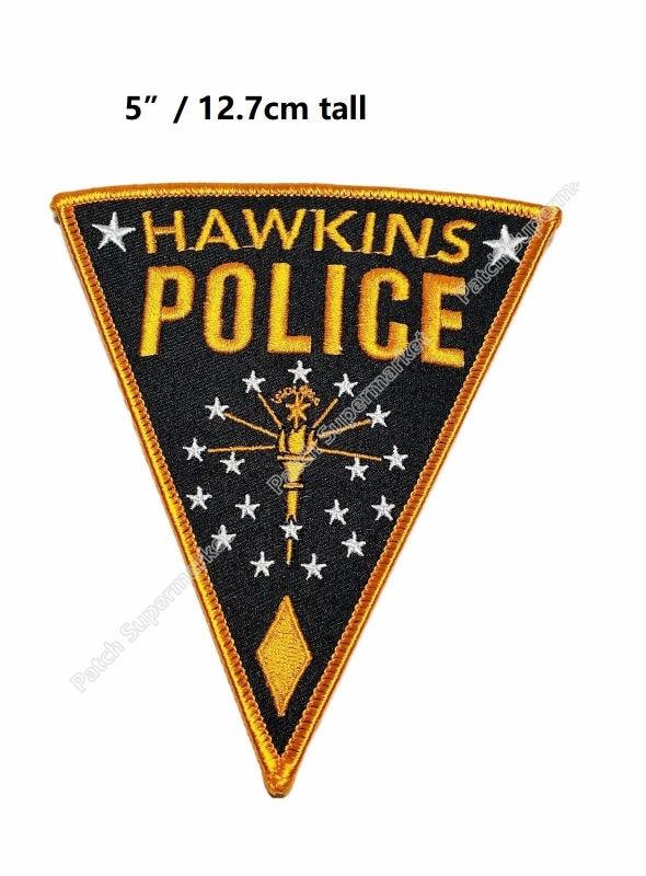 """5 """"큰 낯선 것들 호킨스 경찰 로고 패치 거꾸로 tv 시리즈 수 놓은 아이언 의상 코스프레 의류-에서패치부터 홈 & 가든 의  그룹 1"""