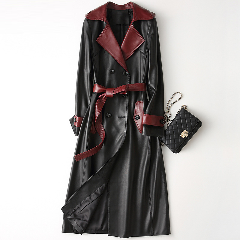 Korean Slim Genuine Leather Trench Coat Women X Long Leather Jacket 2019 New Arrival Spring Natural Sheepskin Coats With Belt