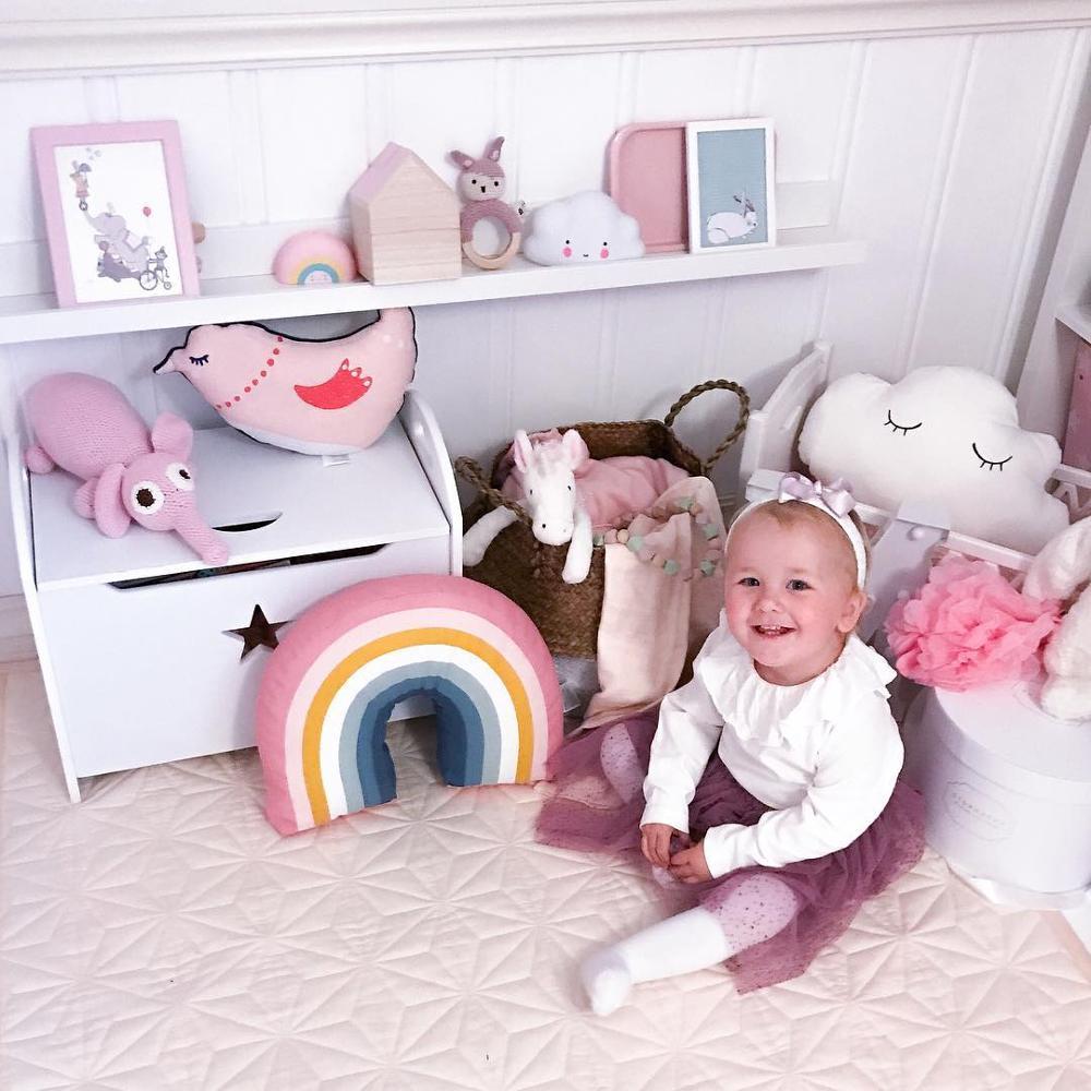 INS полосатая Милая Подушка, супер мягкая Радужная подушка, детские игрушки, украшение для дома, материал для детской фотографии - Цвет: 35x25CM