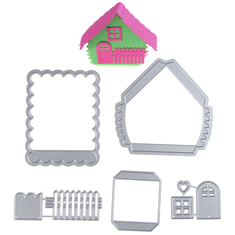 Swovo Assemble Cute House with Fence DIY Scrapbook Crafts Greeting Cards Album Cutting Dies Frame Making Photo Decor Supplies