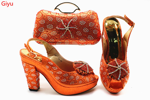wonderful Matching Women Shoe and Bag Set Decorated with orange Nigerian Shoes and Bag Set Italy Shoes and Bag set!HSN1-17wonderful Matching Women Shoe and Bag Set Decorated with orange Nigerian Shoes and Bag Set Italy Shoes and Bag set!HSN1-17