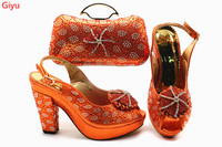 wonderful Matching Women Shoe and Bag Set Decorated with orange Nigerian Shoes and Bag Set Italy Shoes and Bag set!HSN1 17