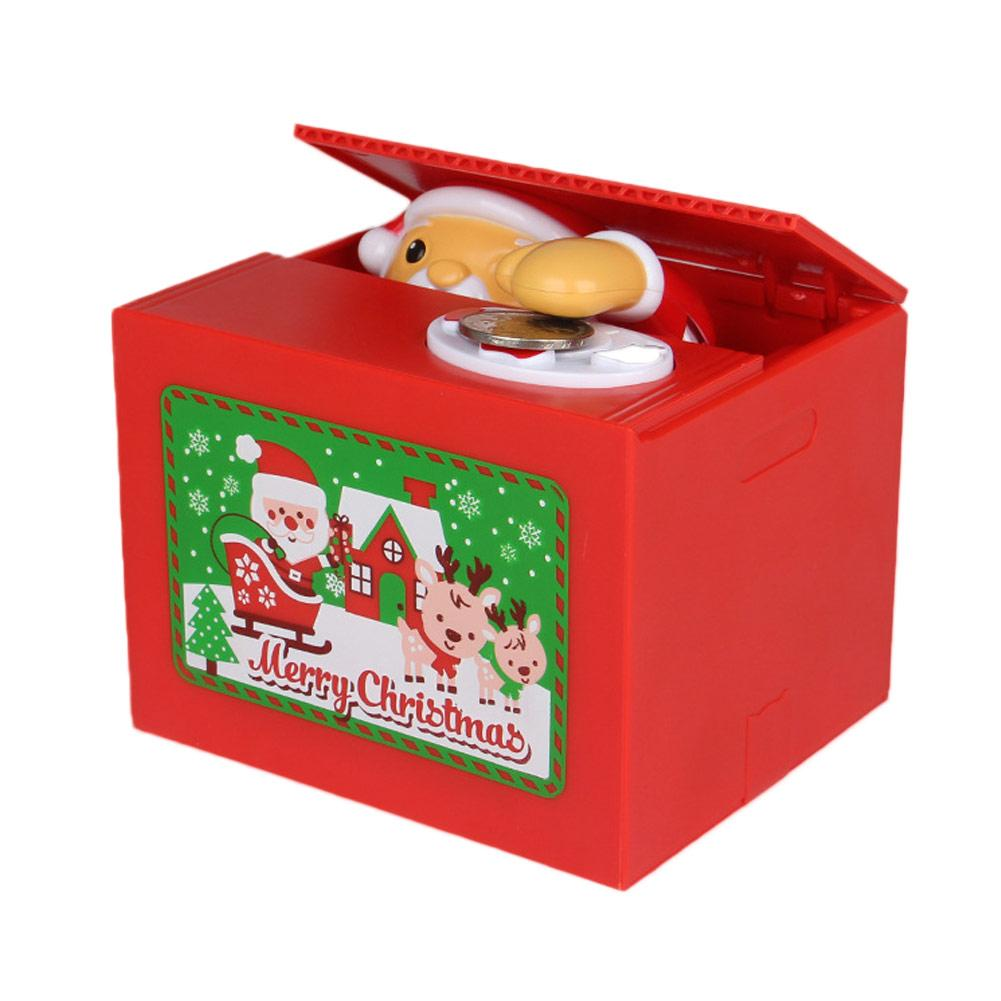Cartoon Children's Electric Christmas Santa Claus Steal Coins Piggy Bank Lovely Cartoon Magnetic Money Storage Box cartoon christmas santa claus printed home decor pillow case