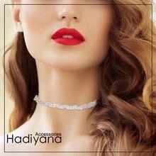 HADIYANA Christmas Monaca Cubic Zirconia Choker Collar With Adjustable Chain Trendy Baguette CZ Choker Jewelry Necklaces XL010