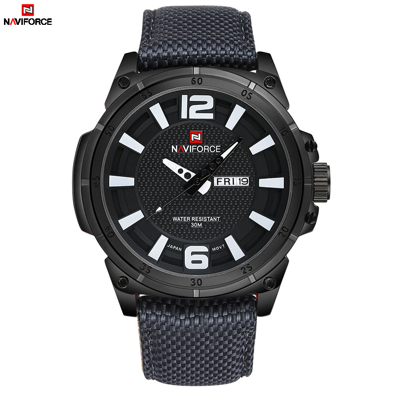 NAVIFORCE Watches Men Military Sports Quartz Watches Luxury Brand Fashion Casual Auto Date Week 3ATM Waterproof Nylon Watches men sport watch naviforce luxury brand men military quartz watches fashion casual leather strap auto date 30m waterproof watches