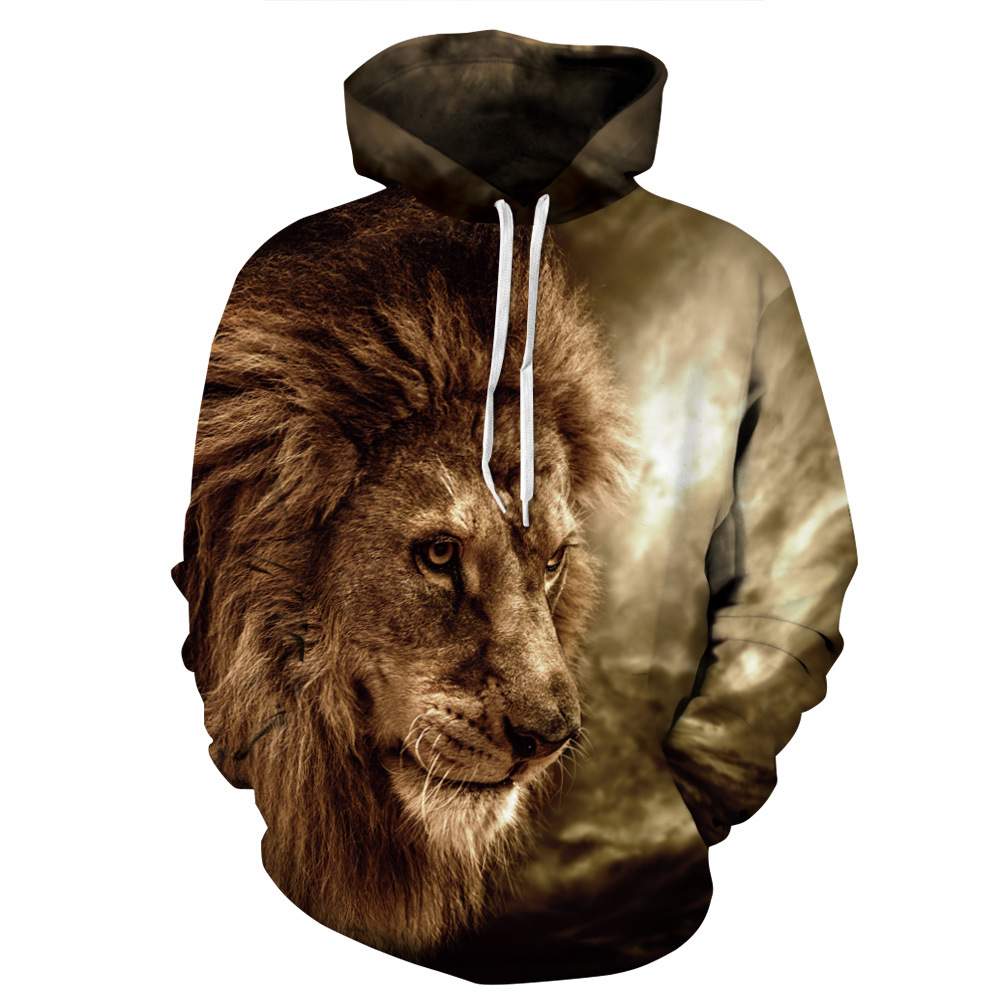 Spring autumn New Animal Lion 3D Hoodies Men Leisure Hip Hop Sweatshirts Unisex Thin Hooded Tracksuit Pullover Sweat Tops