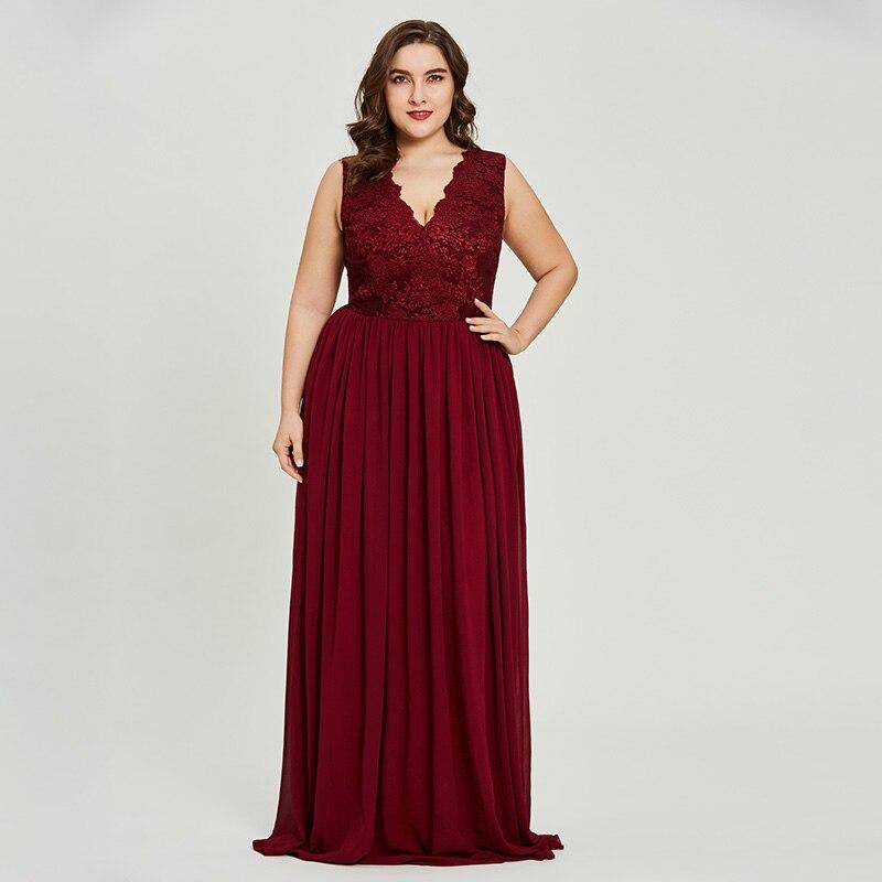 Tanpell 8 16 size a line prom dress burgundy sleeveless v neck floor ...
