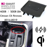 For Peugeot 4008 5008 QI Wireless charging Hidden Wireless charger Phone Holder Storage Box For Citroen C4 Aircross 2016+