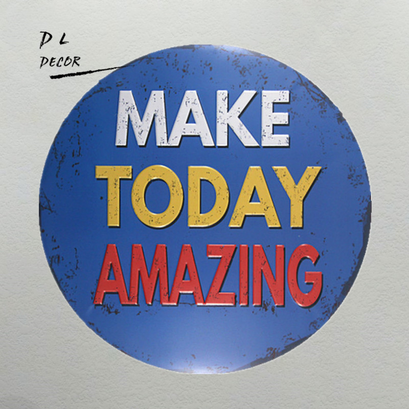 DL-make today amazing blue classic metal sign mancave decorations home wall sticker image