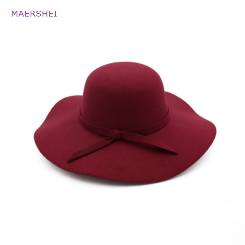 MAERSHEI Vintage black woolen hat dome bow lotus leaf big hat lady autumn and winter hat temperament hat