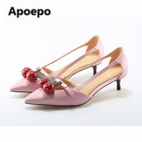 Apoepo Brand Designer Bamboo high heels pumps Shoes Patent leather Cherry Pointed Toe Shoes Woman Pink Party Ladies Bride Shoes
