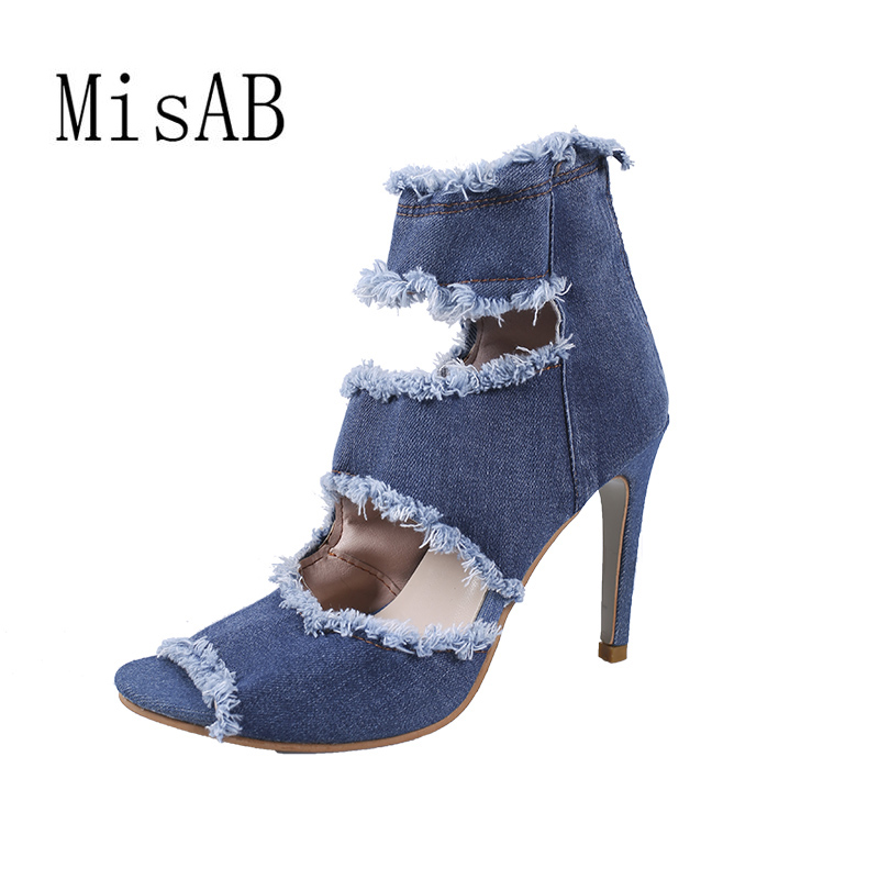 2018 fashion women boots high heels spring summer women shoes peep toe ankle boots jeans shop boots platform 39 female shoes