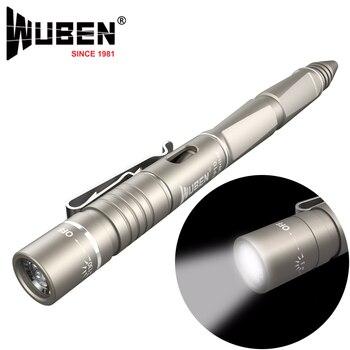 WUBEN עט אור פנס LED 130 lumens נייד רב תכליתי USB נטענים CREE פנס טקטי הגנה עצמית קמפינג