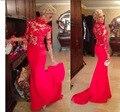 2015 alto cuello rojo de la sirena Prom vestidos manga larga cierra la espalda de encaje transparente apliques satén apretado adolescente africana vestido de madrina