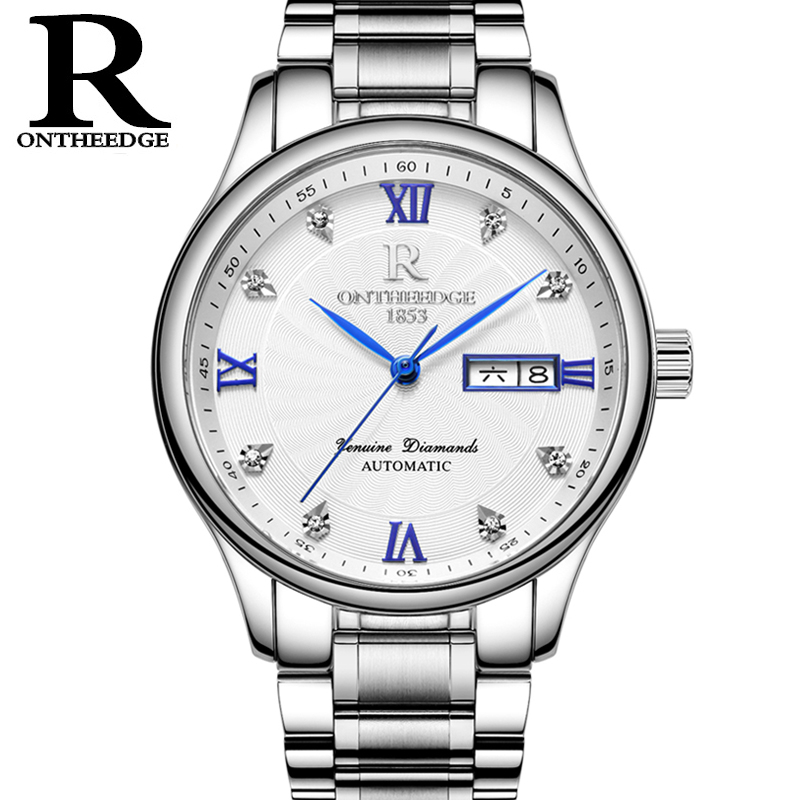 цены RONTHEEDGE Fashion Casual Stainless Steel Watches for Men Automatic Mechanical Wristwatches Auto Date Week with gift box RZY012