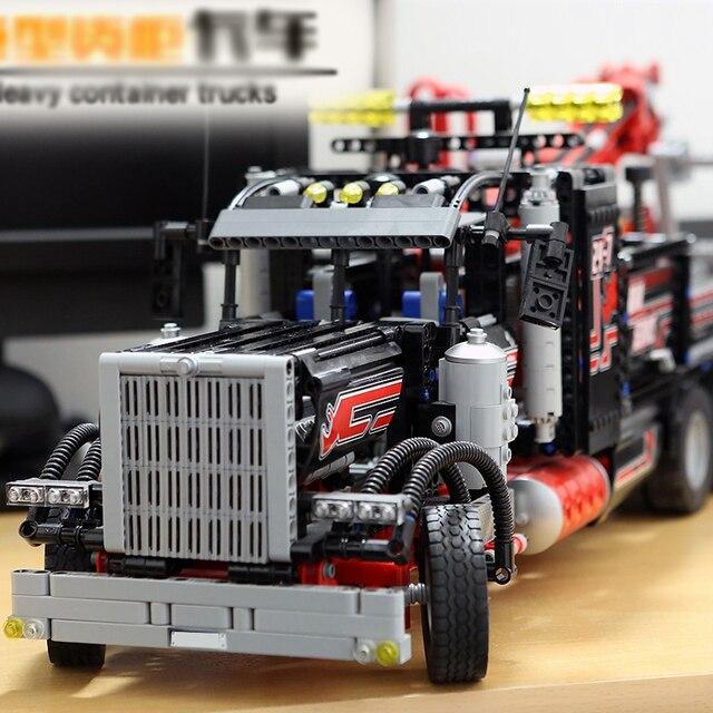 LegoINGlys 8285 1877pcs technic series The American heavy container trucks Model Building blocks Bricks Compatible lepinang DHL