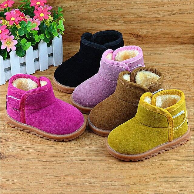 fcbecd356 Niños Botas de Invierno Cálido Botas de Nieve Niñas de Peluche piel Mate  Zapatos de Bebé