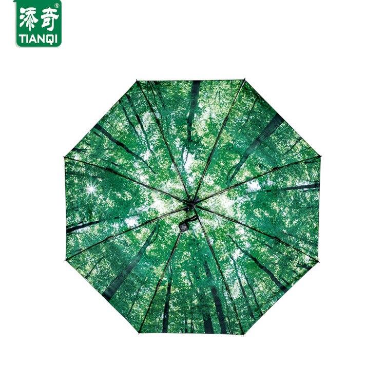 Vert haute qualité Anti-UV noir revêtement magique parapluie créatif nouveauté forêt marche trois pliant ensoleillé pluvieux parapluie Z598