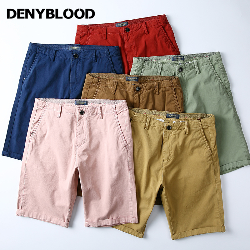 Denyblood Jeans Mens Shorts 2018 Summer New Arrival Cotton Chinos Capris Bermudar Twill Shorts Casual 2202