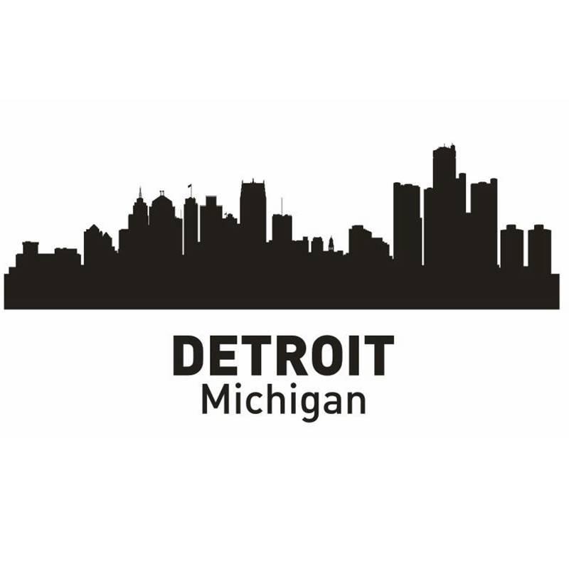 Dctal Детройт Город этикета ориентир Skyline Наклейки на стену эскиз плакат Parede Домашний Декор Стикеры