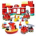 Городская пожарная станция пожарная лодка пожарные большие частицы строительные блоки Совместимые Duploed кирпичи Обучающие игрушки подарки ...