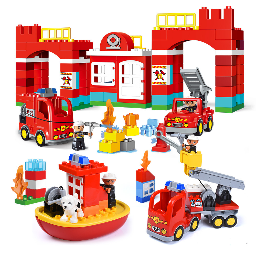 City Fire Station Fire Boat Firemen Big Particles Building Blocks Compatible Duploed Bricks Educational Toys Gifts For Children