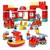 Estación de fuego de ciudad, barco de bomberos, bloques de construcción de partículas grandes, bloques Duploed compatibles, juguetes educativos, regalos para niños