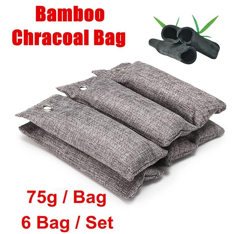 Natural Bamboo Air Fresh Purifier Bags Activated Charcoal Room Car Deodorizer CA