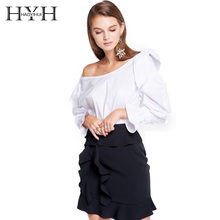 HYH HAOYIHUI Slash Neck Women Sexy Sweet White Shirts Flare Sleeve Off Shoulder Ruffles Lace Up Female Elegant Blouses Lady