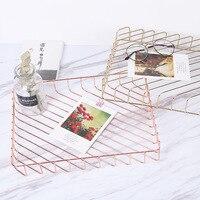 Tray Fruit Basket Debris Finishing Text Basket Wrought Iron Rose Gold Desktop Storage Basket 4