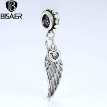 BISAER 2016 Jewelry DIY Alloy Feather Heart Lucky Charms Pendant Beads Fit Bracelet Silver Plated 1 Pcs Wholesale(China (Mainland))