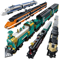 Battery Powered Building Block Trains DIY Train Set Model Bricks Educational Toys for Children Compatible With Legoings Train