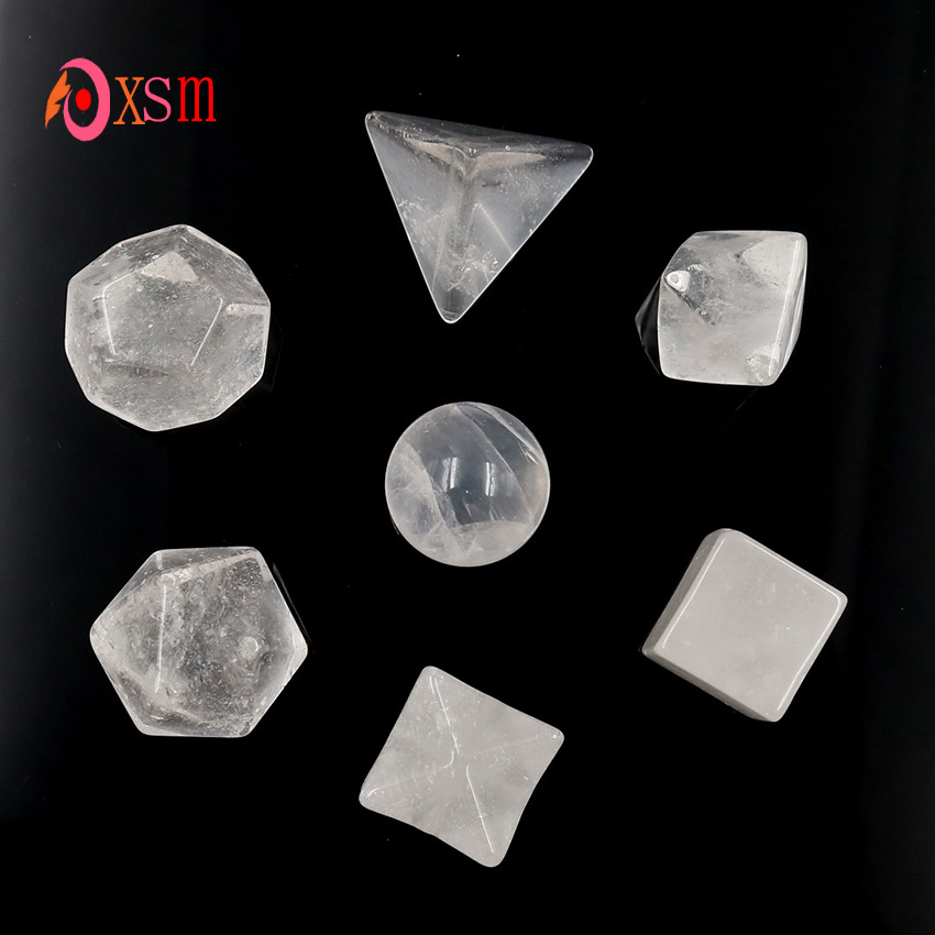 xinshangmie 7 Piece Carved Rock Crystal Platonic Solid Healing Crystal Sacred  Geometric Set