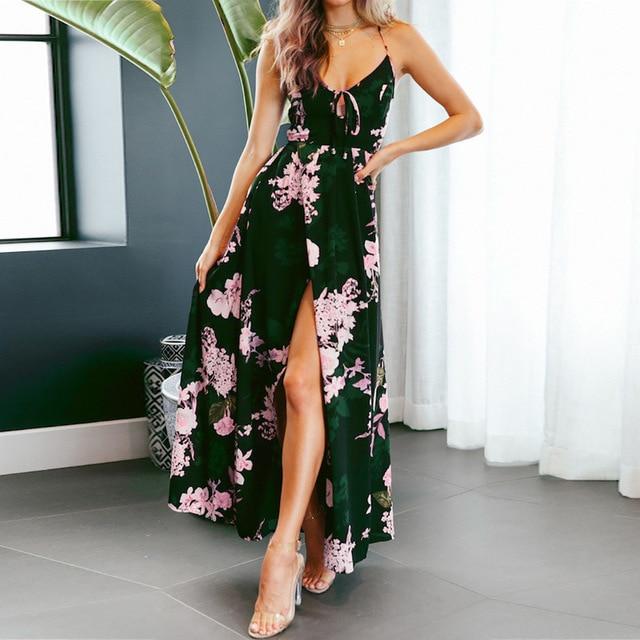 a279d639ba3 Boho Deep V Neck Beach Maxi Dress Women Floral Print Spaghetti Strap Backless  Side Split Sexy Long Dress 2018 Sexy Summer Dress