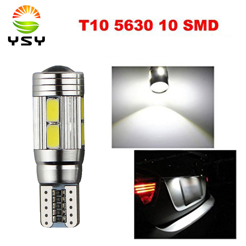 100pcs T10 Canbus 10SMD 5630 5730 FREE ERROR Auto LED BULB Lamp W5W Canbus Interior Light flytop 2 x w5w 10smd canbus t10 5630 smd 194 led car bulbs error free can bus auto lights white blue crystal blue yellow red