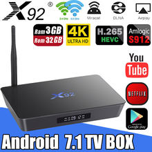 Original X92 2GB/16GB 3GB/32GB Smart Android 7.1 TV Box Amlogic S912 Octa Core 2.4G/5.8G Dual WiFi 4K Media Player Set Top Box(China)