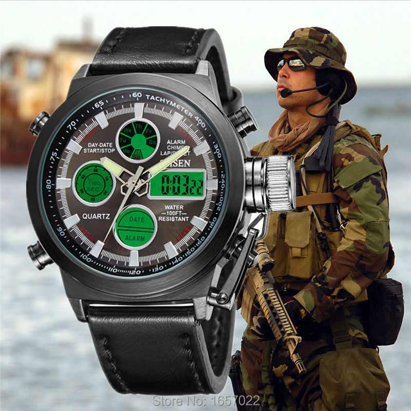High quality luxury brand man fashion big dial dual time sports Military leather watches with green led display waterproof watch