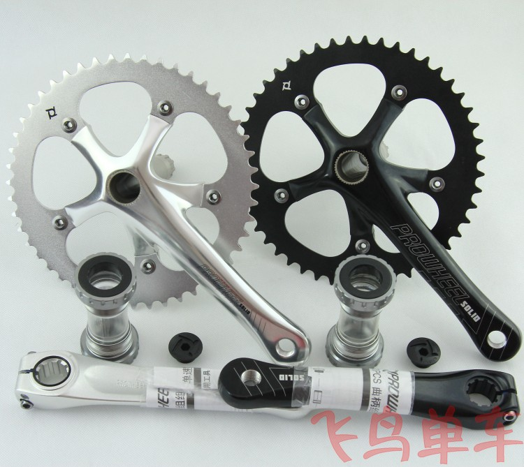 Prowheel Solid 48T Single Speed Fixed Gear Bike Crankset 170mm Bearing 130 BCD Bicycle Crank Chainwheel west biking bike chain wheel 39 53t bicycle crank 170 175mm fit speed 9 mtb road bike cycling bicycle crank