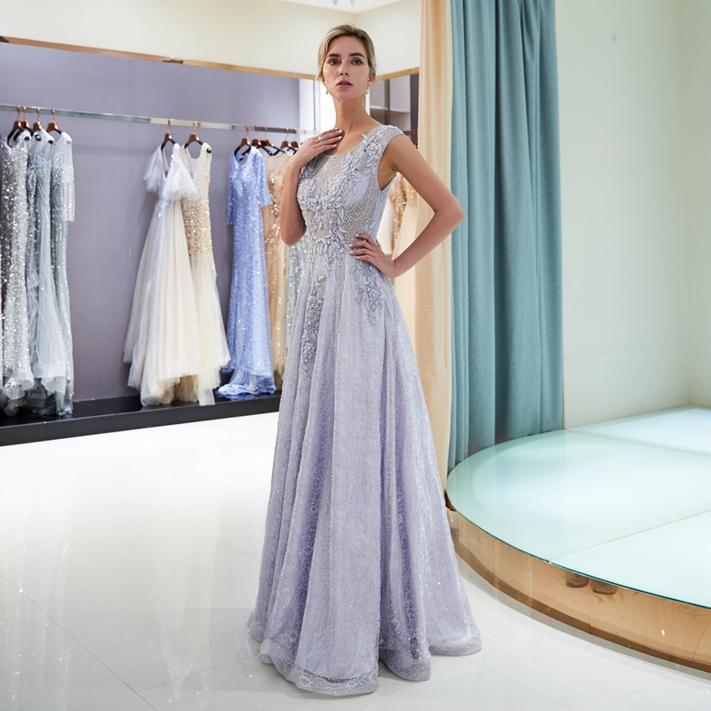 Purple Evening Dress 2019 Lace Pearls Beads Elegant Floor Length O-neck A Line Simple Popular Sleeveless Special Occasion Gown