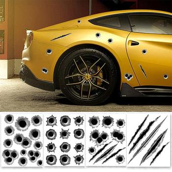 Cool Funny Bullet Hole Pattern Car Motorcycle Helmet Bike D I Y Sticker Decal image