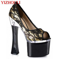 Special offer 18cm high heels Fish mouth cup documentary shoes joker, net cloth shoes