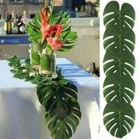 24Pcs 35x29cm 20x18cm Artificial Tropical Palm Leaves Simulation Leaf For Home Party Decoration Supplies