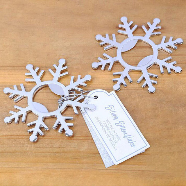 100pcs Creative Metal Snowflake Beer Bottle Opener Wedding Favor And Gifts For Guests Christmas Present Souvenirs ZA4560