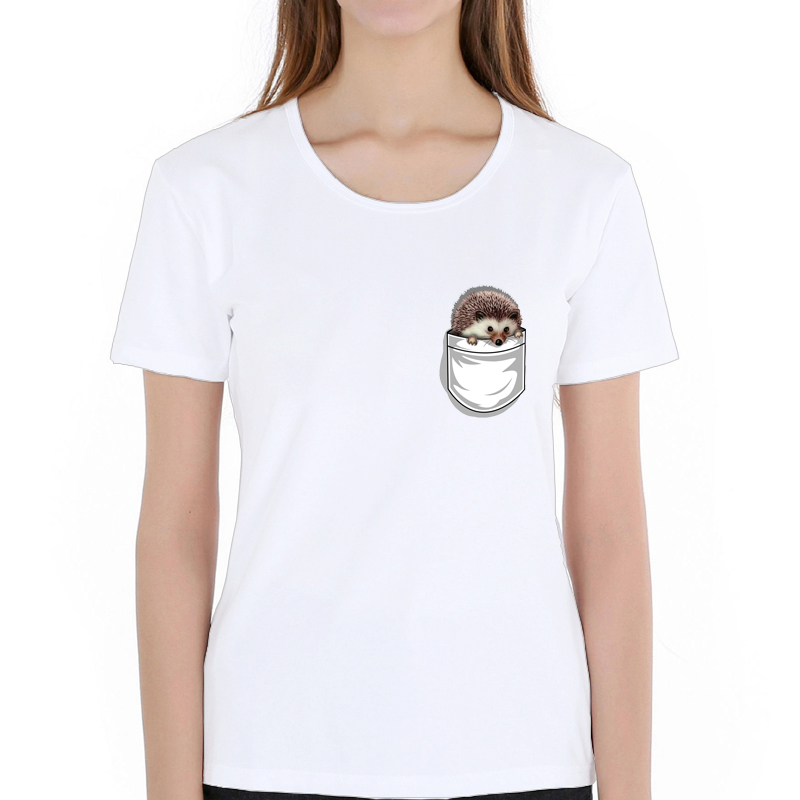 New 2019 Fashion Pocket Cute Hedgehog T Shirt Women Summer Novelty Paint Printed Tops Hispter Round Neck T-shirts