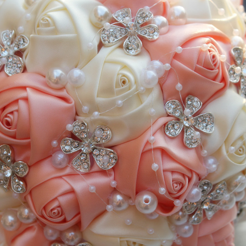 Coral pink ivory champagne satin rose festival stitch bouquets coral pink ivory champagne satin rose festival stitch bouquets custom ribbon wedding bridal bouquet flowers color option w224a 6 in artificial dried mightylinksfo