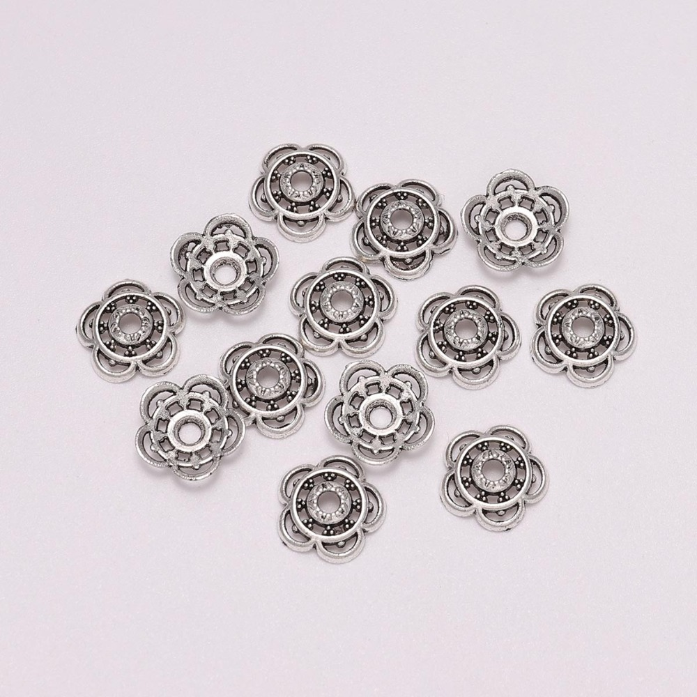 50Pcs Bag 10mm Antique Silver Color Flower Bead End Caps For Jewelry Making DIY Bracelet Earrings Accessories Findings Wholesale in Jewelry Findings Components from Jewelry Accessories