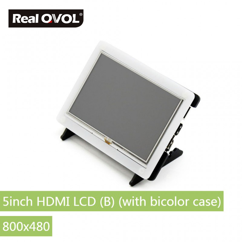 RealQvol 5inch HDMI LCD (B) (with bicolor case) Resistive touch control Supports Raspberry Pi Banana Pi BB Black 800x480 parts raspberry pi lcd 5inch hdmi lcd b with bicolor case 800 480 touch screen supports all raspberry pi 3 b banana pi pro