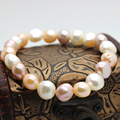 8-9mm natural freshwater pearl bracelet mixed color baroque shaped pearl bracelet