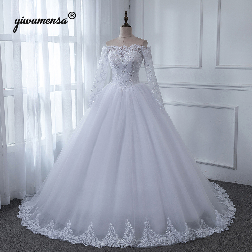Robe De Mariee Cheap Ball Gown Wedding Dress 2019 Off The Shoulder Appliques Bridal Gowns Custom