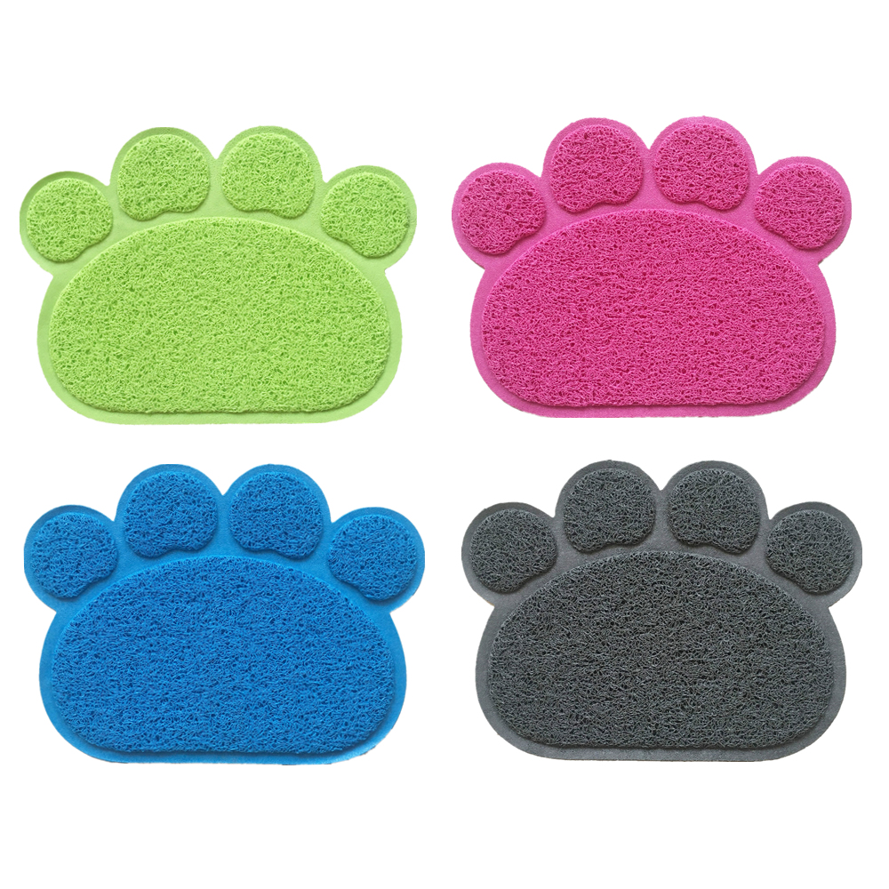 New PVC Pet Dog Cat Feeding Mat Pad Cute Paw Pet Dish Bowl Feed Place Puppy Bed Blanket Table Mats Easy Wipe Cleaning 4 Colors